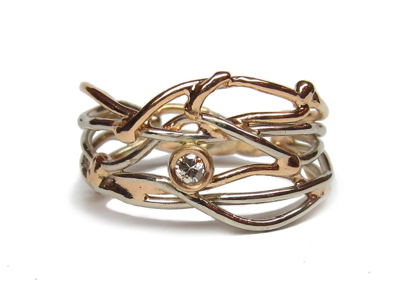 Ring 'Tangled' <br> hergebruikt witgoud en geelgoud & diamant